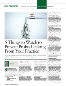 2021-06 DPR 5 Things to Watch to Prevent Profits Leaking From Your Practice by Phil Bride